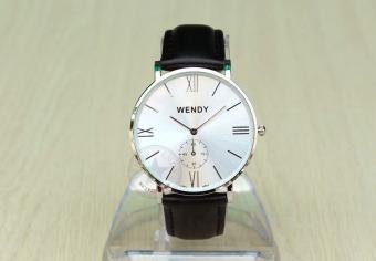 Đồng hồ nam dây da trơn lỗ vuông Wendy CH225-1 (Đen bạc)