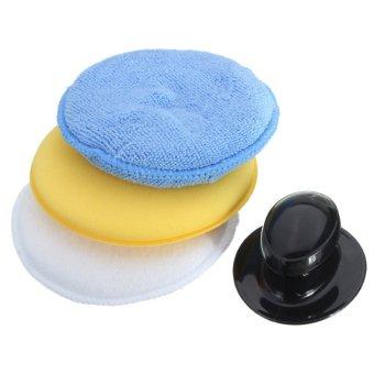 3Pcs Microfibre Foam Sponge Polish Wax Cleaning Applicator Pads and Handle Set - Intl