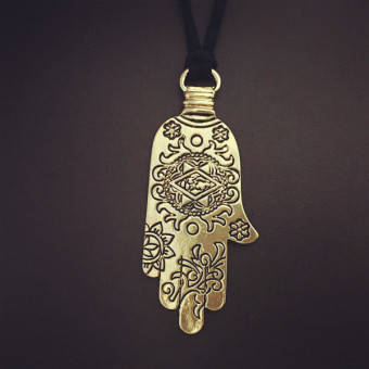 Fashion Hand of Fatima Hamsa Pendant Necklace Long Rope Jewelry Gift Gold - Intl