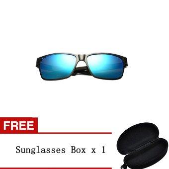 Bluelans Men's Sunglasses Polarized Mirrored Aluminium Outdoor Eyewear Dark Grey - Intl