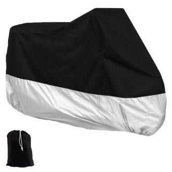 niceEshop Motorcycle Motorbike Waterproof Dust UV Protective Cover(Black&Silver,XXL)