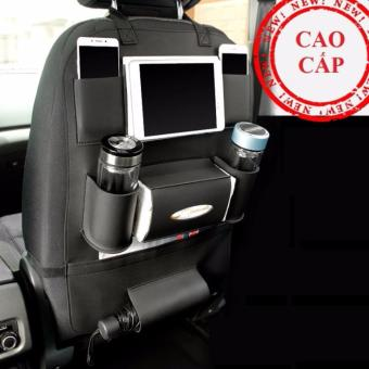 Túi đựng đồ 8 ngăn lưng ghế xe hơi đa năng bằng da PU cao cấp (Đen)