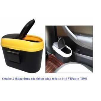 Combo 2 thùng đựng rác thông minh trên xe ô tô VIPauto-TR01