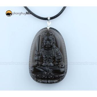 Dây chuyền nam mặt phật Bất Động Minh Vương đá Obsidian khói tự nhiên