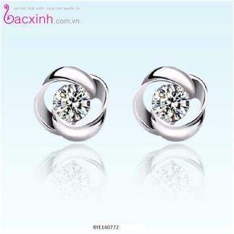 Bông tai nữ trang sức bạc Ý S925 Bạc Xinh - Vòng xoắn RYE140772