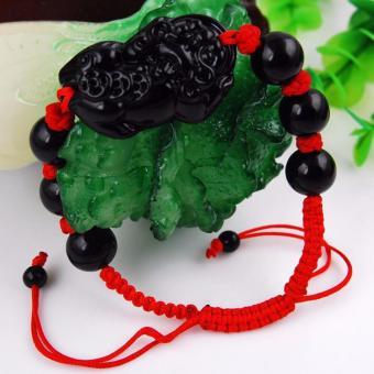 Vòng chuỗi hạt đeo tay nữ chỉ đỏ tỳ hưu đen