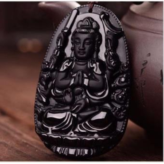 Dây chuyền mặt Phật Quan âm nghìn mắt đá Obsidian bảo trợ cho tuổi Tý-D1