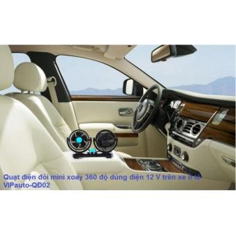 Quạt điện đôi mini xoay 360 độ dùng điện 12V trên xe ô tô VIPauto-QĐ02