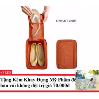 Túi đựng giày du lịch tiện ích (cam) + Tặng kèm khay đựng mỹ phẩm để bàn