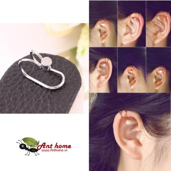 Bông tai nữ (Khuyên tai) đeo vành hình chấm tròn cá tính mầu bạc (BT41)