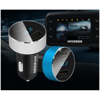 Bộ chia tẩu sạc oto, xe hơi USB cao cấp HYUNDAI (đồng hồ LED)