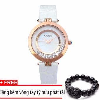 Đồng hồ dây da Guou G2017 màu trắng +Tặng kèm vòng tay thạch anh đen
