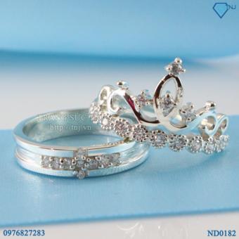 nhẫn đôi nhẫn cặp bạc queen king ND0182