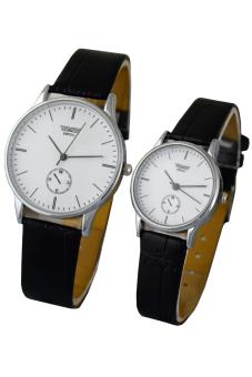 Đồng hồ đôi dây da SWIDU 003 (Mặt Trắng)