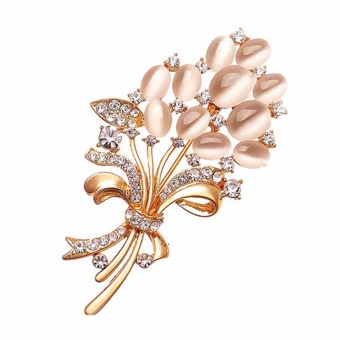 Fancyqube New Opal Rhinestone Brooches for Women Vintage Fashion Female Jewelry Gold Plated Opal Flower Brooch Broches Pins Mujer - intl
