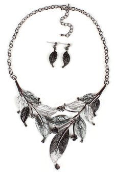 Blue lans Leaf Rhinestone Jewellery Set (Black) - Intl