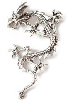 Gothic Punk Metal Vintage Style Fly Dragon Ear Wrap Clip Earring Silver