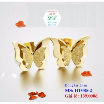 Bông tai Titan bướm phun cát cực xinh HT085-2 (Vàng)