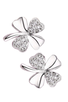Fancyqube Lucky Clover Scrub Flower Sweetheart Accessories Vintage Earring Silver