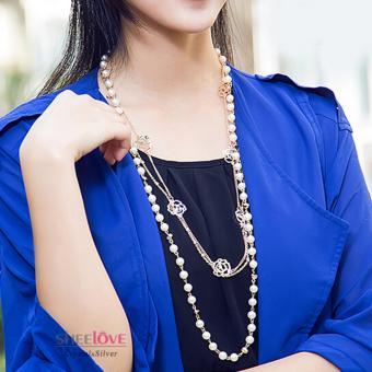 Dây chuyền nữ dáng dài chuỗi hoa hồng ngọc trai thời trang sang trọng MYL-LF336