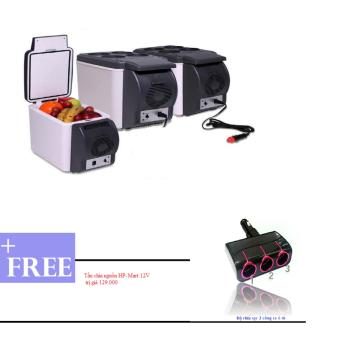 Tủ lạnh mini tiện ích trên ô tô 6.5L (Trắng đen) + Tặng bộ chia 3 nguồn