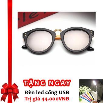 Kính mắt mèo gọng vàng UV Mori Korea F657 + Tặng đèn LED cổng USB