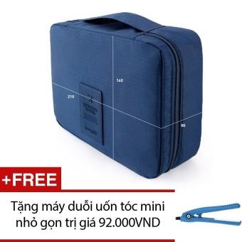 Túi du lịch đựng đồ cá nhân Monopoly dành cho Nam (Xanh dương) + Tặng máy duỗi uốn tóc mini nhỏ gọn