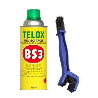Chai xịt bôi trơn, chống sét Telox BS3 450ml và bàn chải vệ sinh sên đa năng 3D