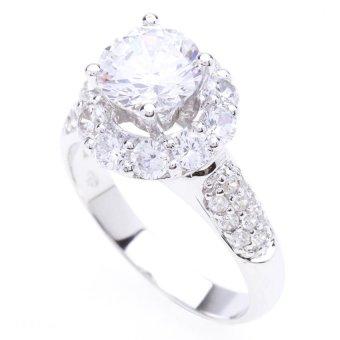 Nhẫn nữ ổ tròn HQ Jewelry swarovski 3.5mm (Trắng)