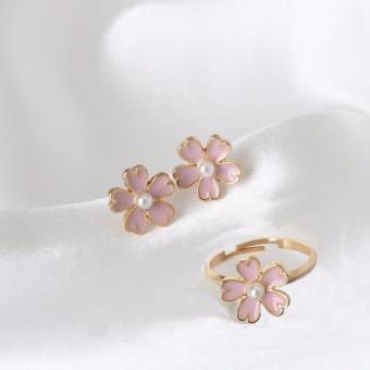 Bộ nhẫn và bông tai Sakura Hồng xinh