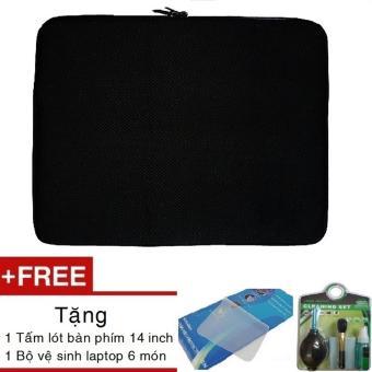Túi chống sốc Laptop 14 inch + tặng Bộ vệ sinh 6 món và Miếng lót bàn phím 14 inch