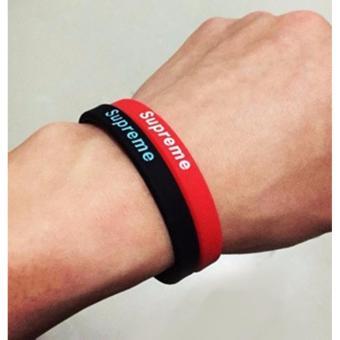 Bộ 2 vòng tay cao su thể thao phong cách (đỏ-đen)