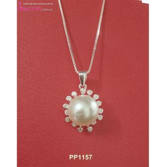 Mua Bộ dây chuyền liền mặt trang sức bạc Ý S925 Bạc Xinh - Mặt ngọc trai viền hoa PP1157 giá tốt nhất