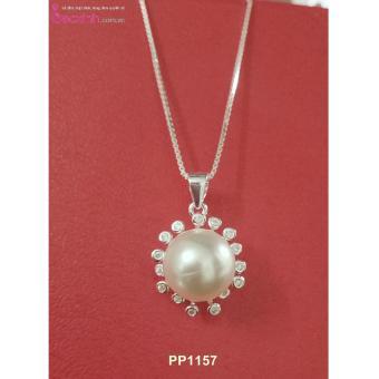 Bộ dây chuyền liền mặt trang sức bạc Ý S925 Bạc Xinh - Mặt ngọc trai viền hoa PP1157