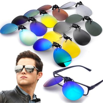 Teamtop Polarized Clip On Sunglasses Lens Fishing Night Driving UV400 Night vision Yellow - intl