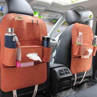 Túi đựng đồ 6 ngăn sau ghế xe hơi, ô tô LOẠI 1 đa năng H89-NÂU BÒ