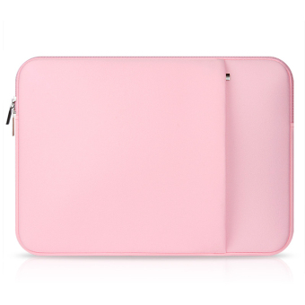 Laptop Protective Carrying Sleeve Pouch Bag with Side Pocket for Universal 15.6 inch Laptop Pink