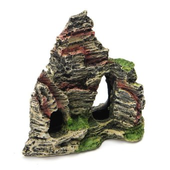 Resin Mountain View Cave Rock Stone Aquarium Ornament Fish Tank Landscape Decor Type: C - intl