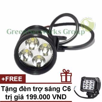 Đèn pha led trợ sáng xe máy phượt L4 GNG + Tặng đèn C6