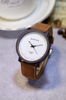 Đồng hồ nam dây da thời trang Rosivga IDW 6953 (Dây nâu mặt trắng)