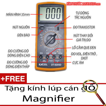 Đồng hồ đo vạn năng Digital Multimeter Excel 9205D + Tặng 1 kính lúp Magnifier