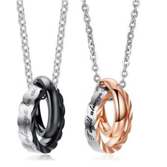 Mua Dây chuyền đôi nam nữ 2 chiếc nhẫn lồng nhau khắc chữ ý nghĩa giá tốt nhất
