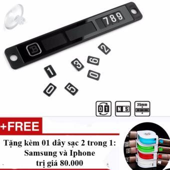 Thẻ đậu xe ghi số điện thoại chủ xe + Tặng 01 dây sạc 2 trong 1 - rút chống xoắn loại 1