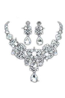 Silver Alloy Rhinestone Earrings Crystal Pendant Necklace Bridal Jewelry Sets Sliver