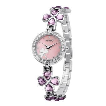 Đồng hồ nữ dây thép không gỉ Kimio cỏ 4 lá ZE36 ( màu hồng phấn)