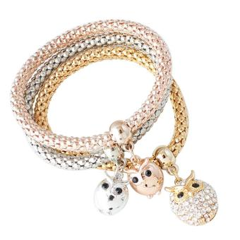 3 PCS Bangle Charm Rose Gold Silver Plated Crystal Cute Owl Bracelets - intl