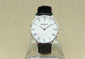 Đồng hồ nam dây da bò vân cá sấu Wendy CH232-1 (Đen mặt trắng)