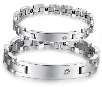 316L Stainless Steel Crystal Energy Magnetic Stone Couple Bracelet Silver Women - intl