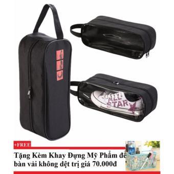 Combo 3 Túi đựng giày thể thao ( đen)+ Tặng kèm khay đựng mỹ phẩm để bàn
