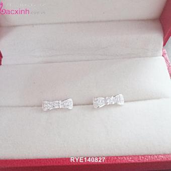 Bông tai nữ trang sức bạc Ý S925 Bạc Xinh - Nơ đẹp RYE140827